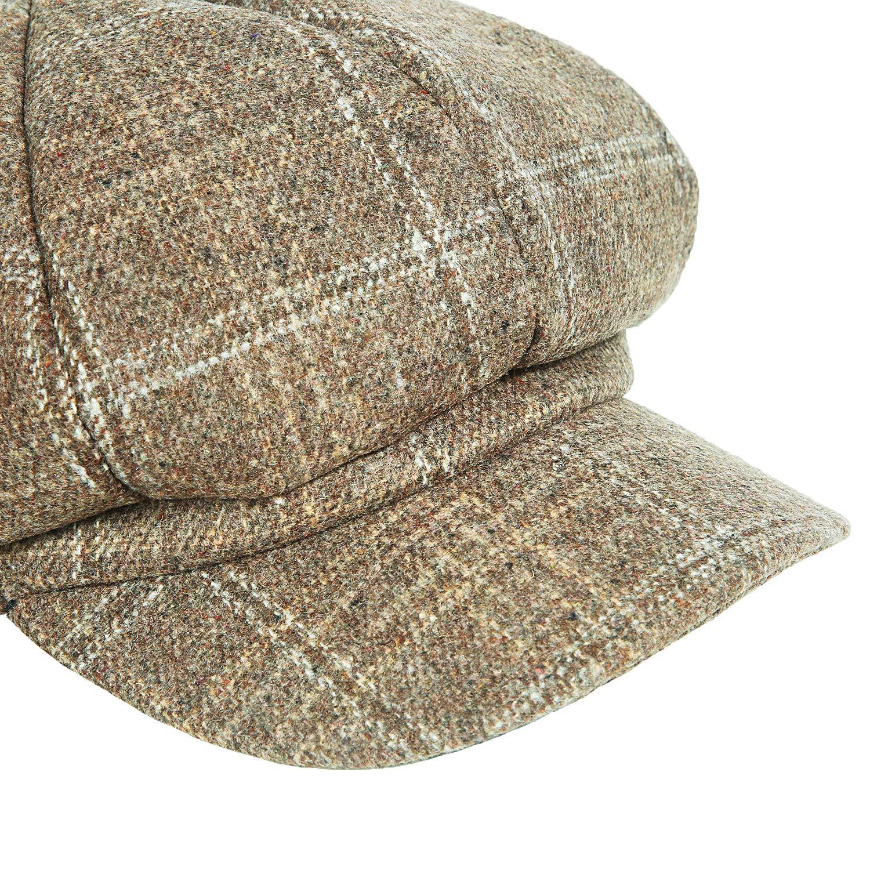 Womens Newsboy Cap Spring Wool British Ivy Cabbie Beret Tweed Girls Paperboy Hat