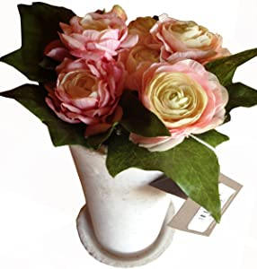 CHANEL Ranunculus and Ivy Permanent Botanical in White Stone Vase