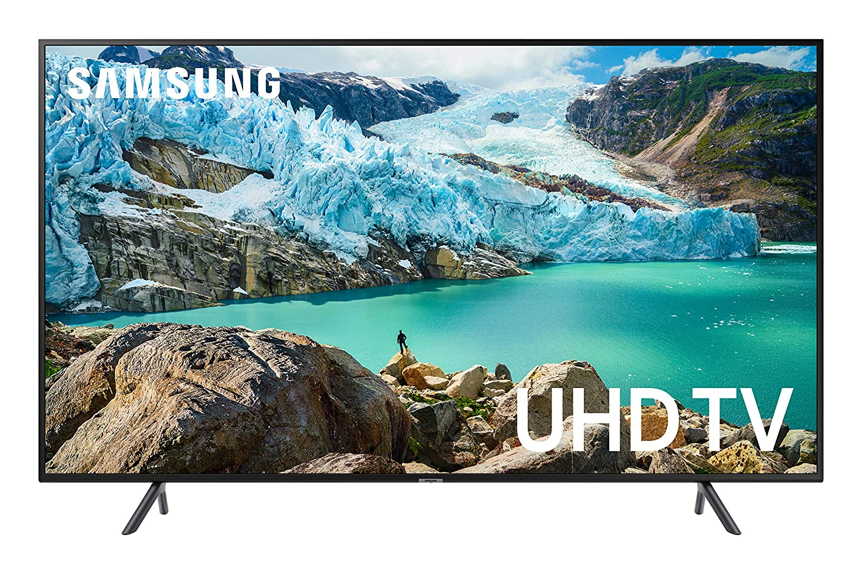 Samsung RU7179 Fernseher Werbebild mit Schriftzug