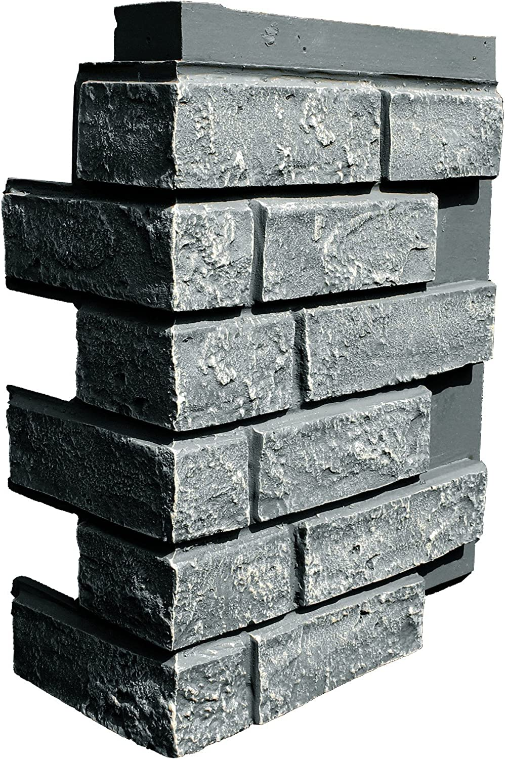 NextStone Polyurethane Faux Stone Interlocking Outside Corner – Brick – Antique Gray (4 Corners per Box)