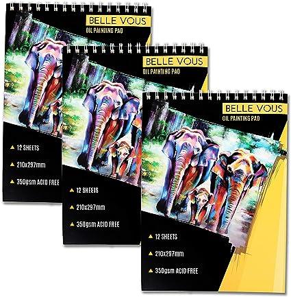 Bloque de pintura al óleo(Pack de 3) - A4, 12 Hojas Blancas cada Uno, 350g Papel