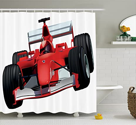 Cars Shower Curtain By Ambesonne Formula Race Car With The Driver Automobile Motorized Sports Theme