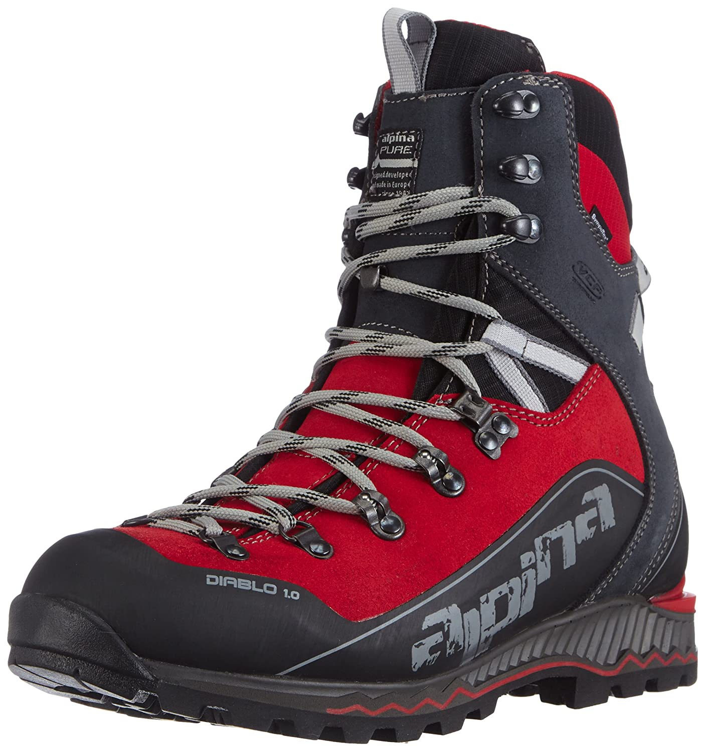 Alpina Mens Trekking And Hiking Boots Red Rot UK - Alpina boots