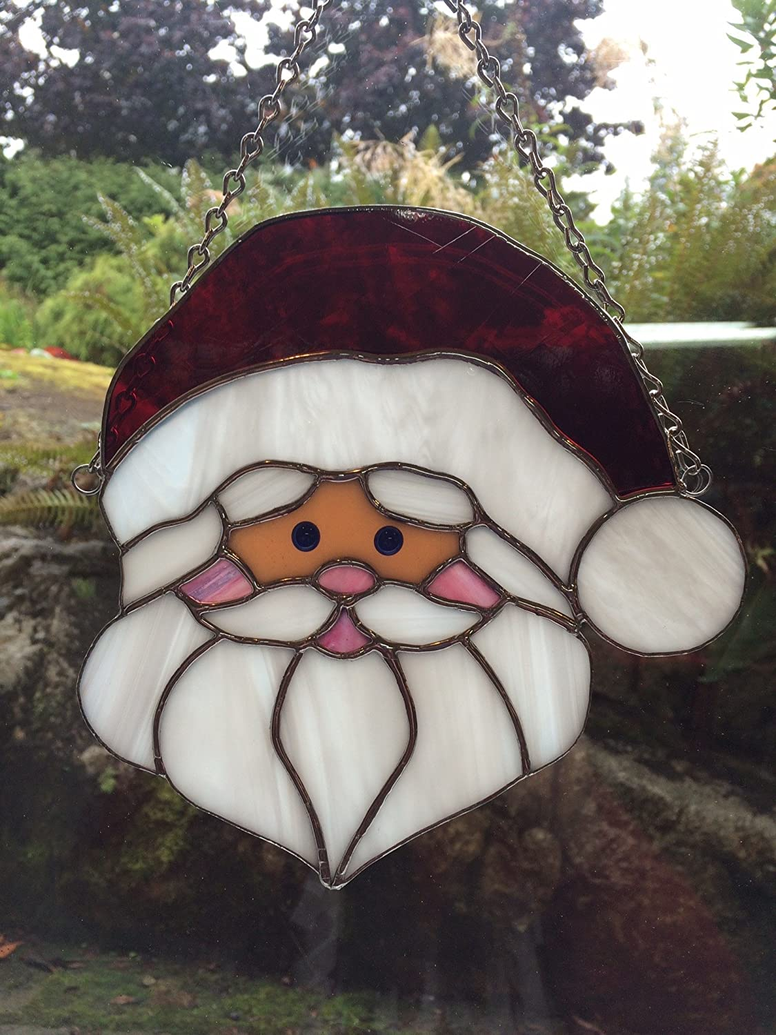 Jolly Old St. Nick Stained Glass Window Hanging