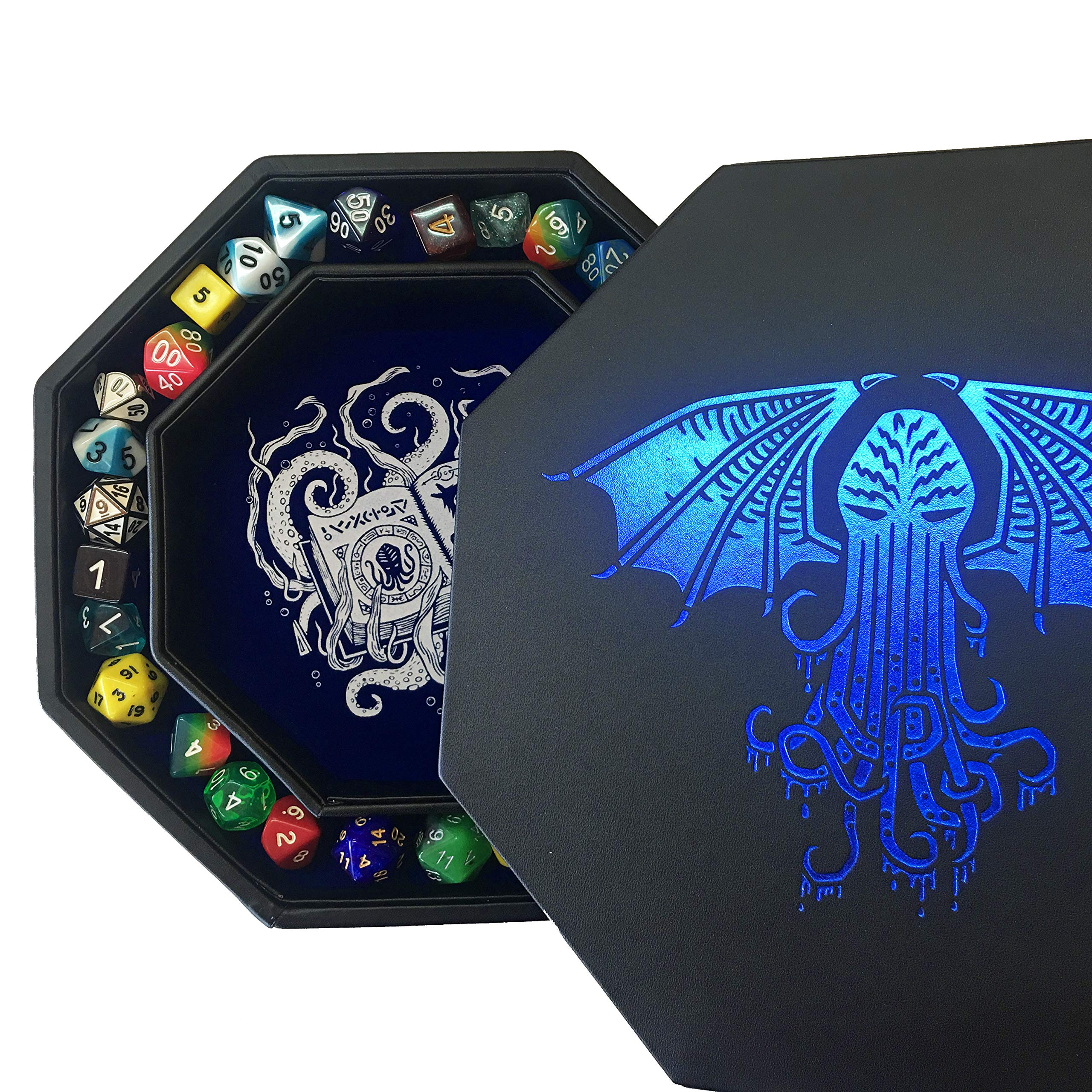 Fantasydice-Cthulhu Tome-Blue- Dice Tray - 8'' Octagon with Lid and Dice Staging Area- Holds 5 Sets( 7 Dice Set/ Standard) for All Tabletop RPGs Like D&D , Call of Cthulhu, Shadowrun.