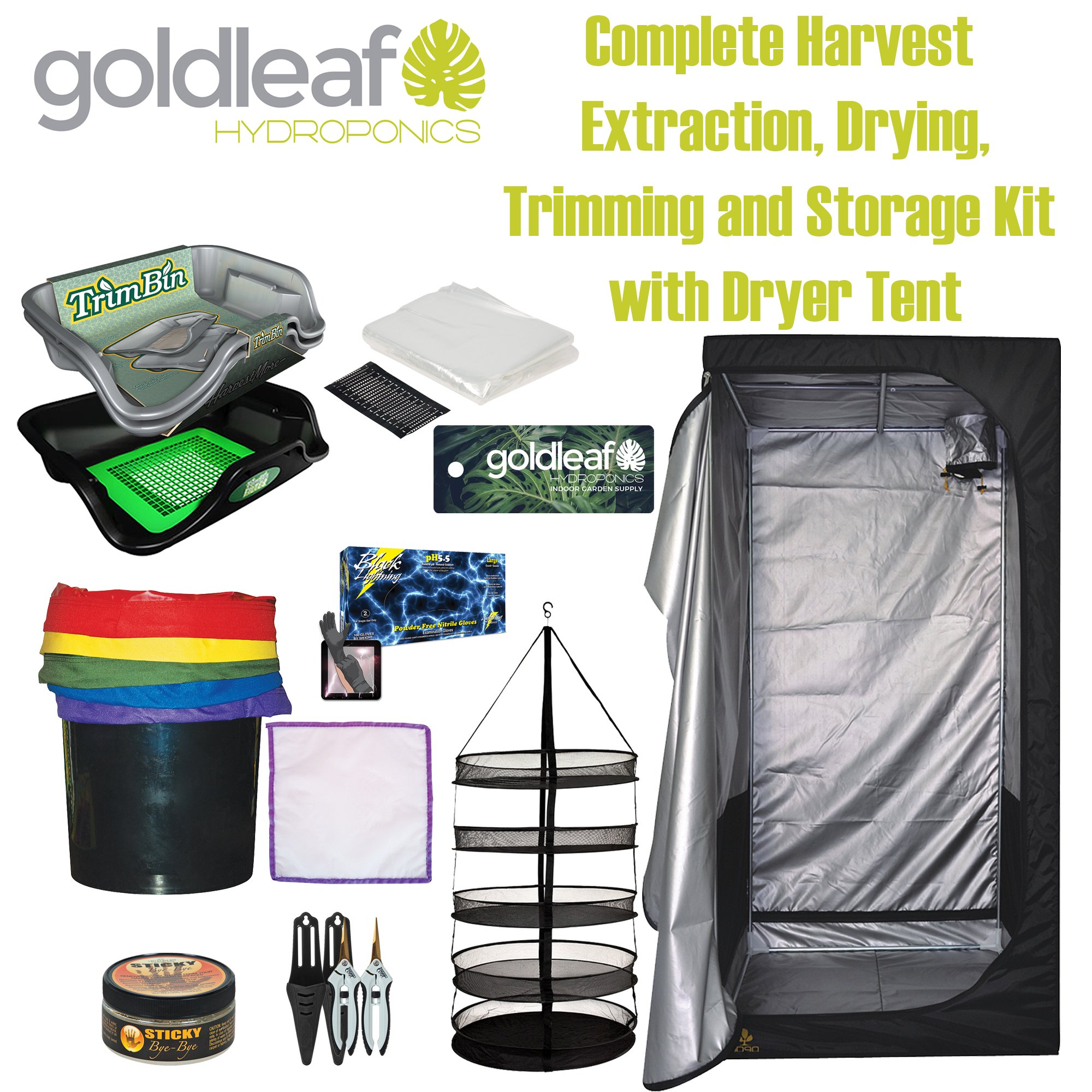 Big Harvest Essential Oil Extraction, Flower Bud Trimming, Drying & Storage Kit with DarkDryer Tent by Goldleaf Hydroponics