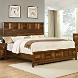 Roundhill Furniture Calais Solid Wood Construction Bed, Queen, Walnut