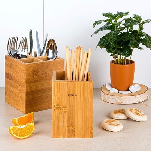 Excelsa Elegance Cubertero de bamb/ú con 4 Compartimentos Color marr/ón