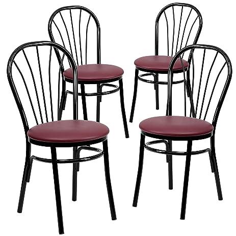 Flash Furniture 4 Pk. HERCULES Series Fan Back Metal Chair   Burgundy Vinyl  Seat