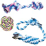 MIWIND– Puppy Dog Pet Cotton Rope Chew Teeth Cleanning Toys For Medium to Large Dogs (Set of 3)