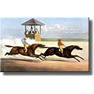 Vintage Horse Race Derby Picture Made on Stretched Canvas Wall Art Decor Ready to Hang!.