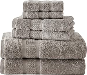 Nautica | Oceane Collection | 6 Piece Antibacterial Towel Set- Decorative Luxury Hotel & Spa Quality Bathroom Linens, Absorbent & Fade Resistant, 6 Piece, Brown