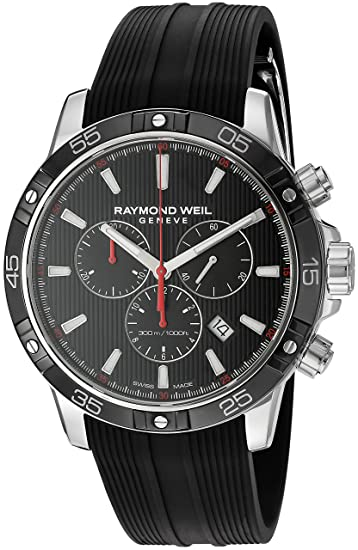 Amazon.com: Raymond Weil Mens Tango Stainless Steel Swiss-Quartz Watch with Rubber Strap, Black, 20 (Model: 8560-SR1-20001: Watches