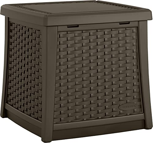 Suncast 13 Gallon Resin Outdoor Patio End Table Storage Box