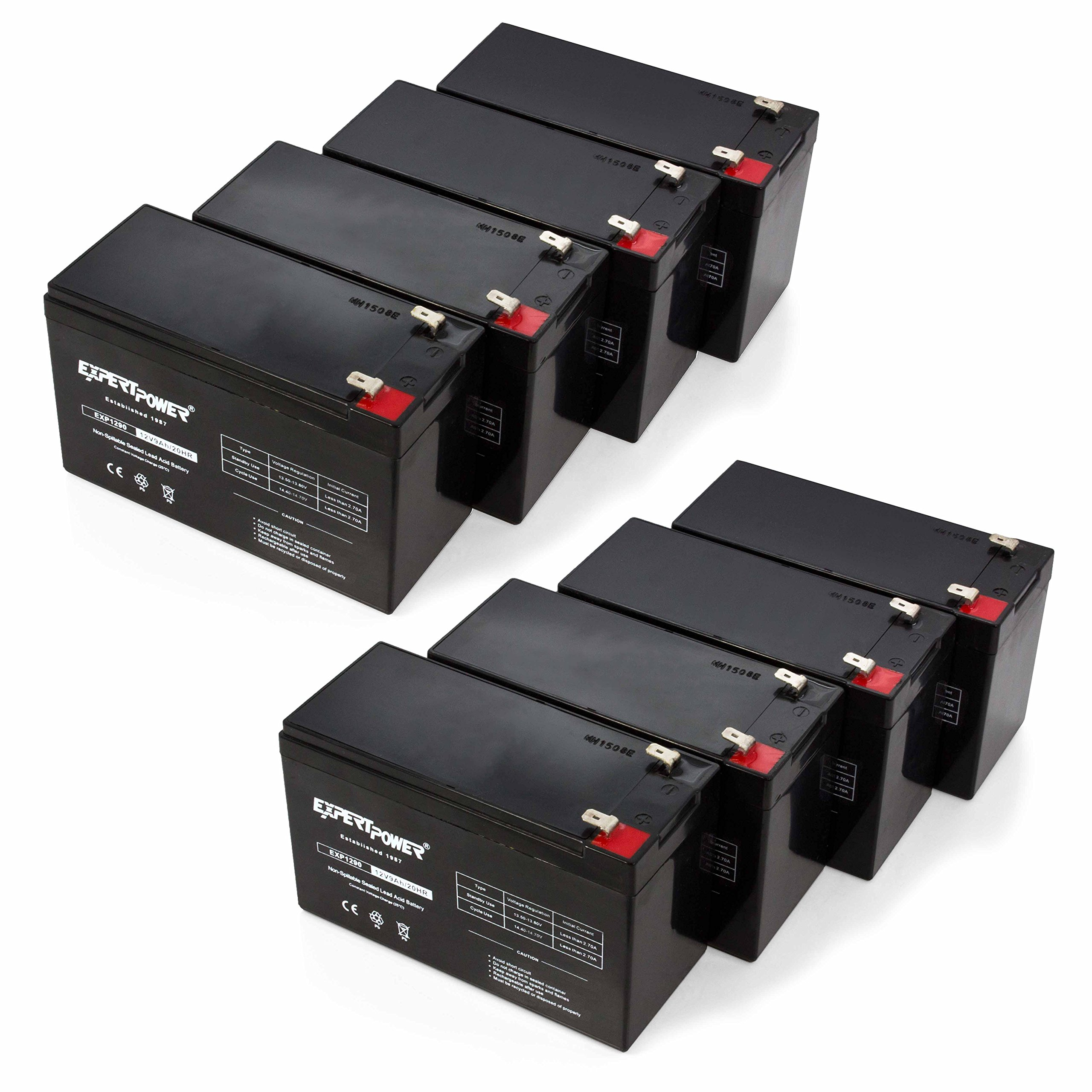 ExpertPower 12v 9ah Sealed Lead Acid Battery with F2 Terminals (.250'') / 8 Pack by ExpertPower