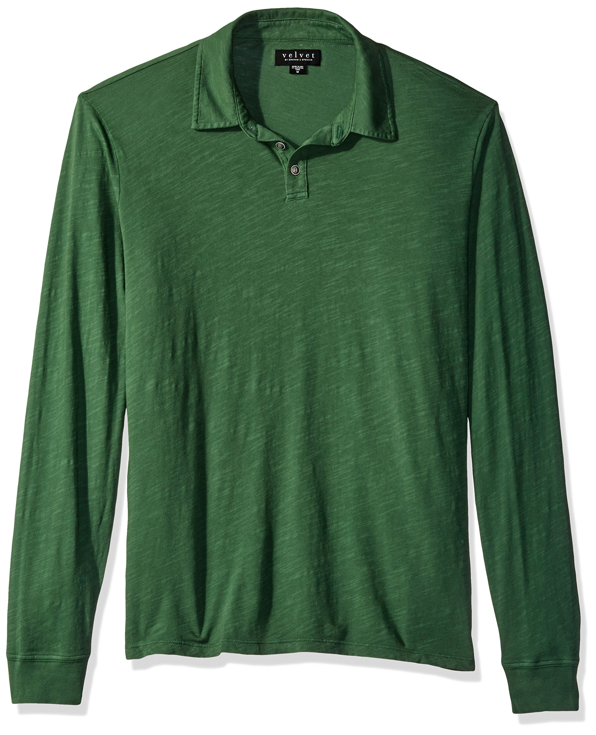 VELVET BY GRAHAM & SPENCER Men's Tyson Long Sleeve Polo Shirt in Cotton Slub, Garden, XX-Large