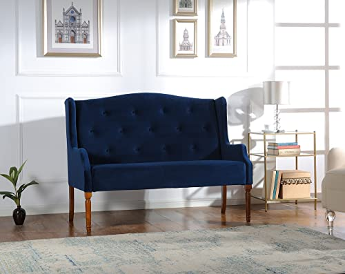 Jennifer Taylor Home Izzy Collection Modern Chic Stylish Hand Tufted Settee with Wooden Legs, Navy Blue