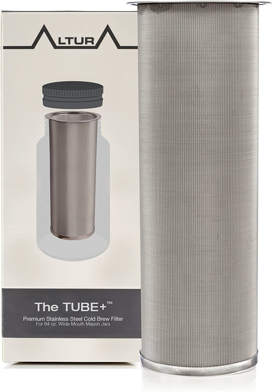 Cold Brew Coffee Maker and Tea Infuser Kit Premium Stainless Steel Mesh Filter Designed to Fit 64 Oz The TUBE+ Wide Mouth Ball Mason Jar Brew Guide and Recipe eBook Included