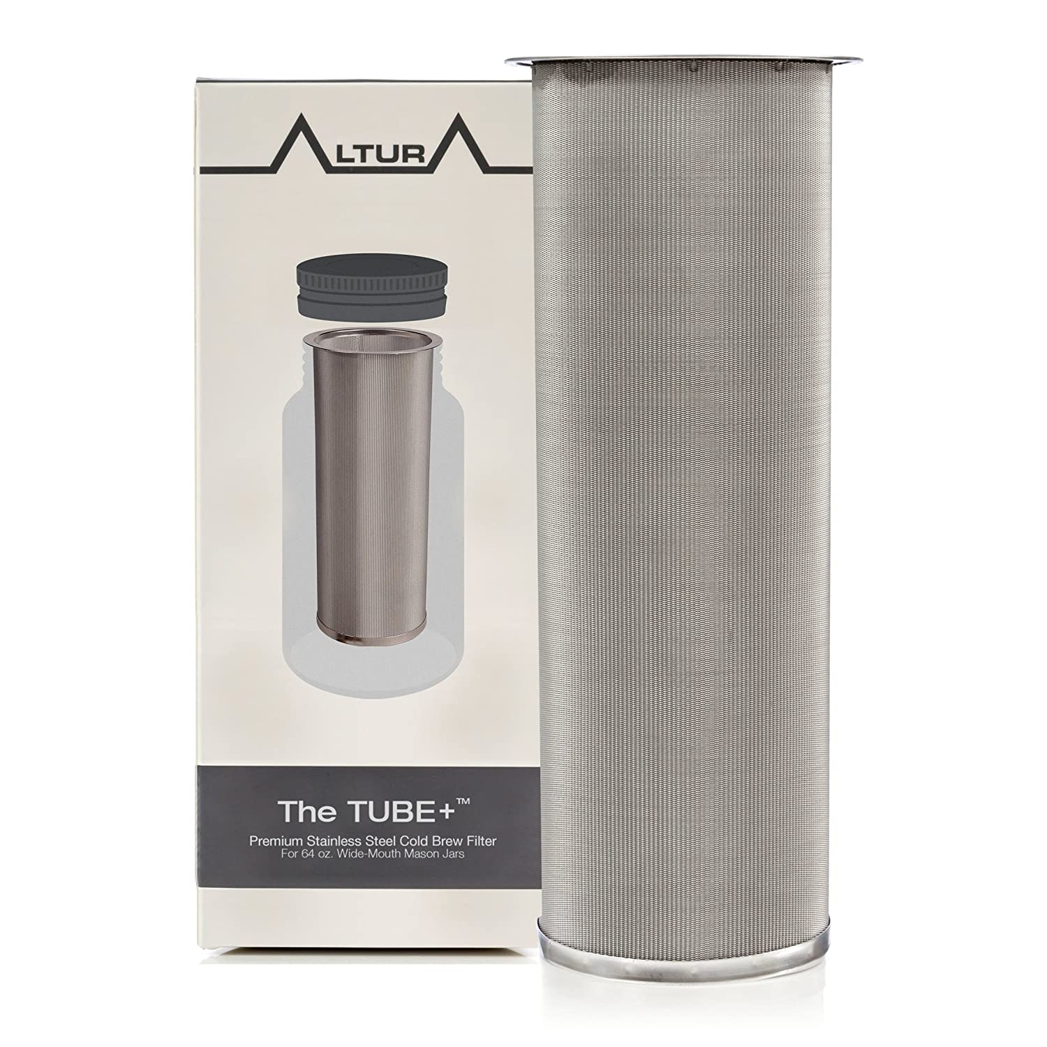 The TUBE+: Cold Brew Coffee Maker and Tea Infuser Kit. Premium Stainless Steel Mesh Filter Designed to Fit 64 Oz. Wide Mouth Ball Mason Jar FREE Brewer Guide and Recipe eBook