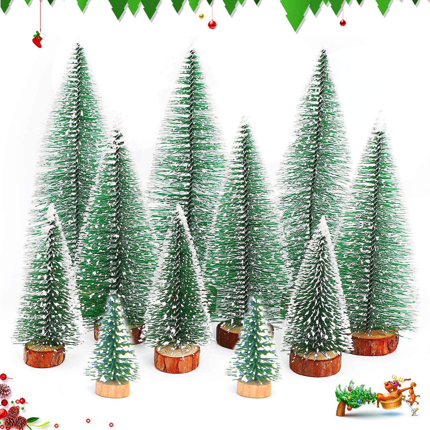 WELLXUNK 11PCS Mini Christmas Trees Miniature Christmas Trees Artificial Sisal Snow Frost Trees Tabletop Trees,Bottle Brush Trees with Wood Base for Christmas Party Home Decoration 5//10//15//20cm