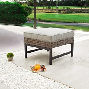 LOKATSE HOME Outdoor Patio Bistro Furniture Ottoman Footstool Rest with Premium Fabric Soft Removable Cushion and Wicker Rattan with Slatted Steel for Garden Yard Lawn Poolside, Grey