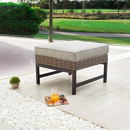 LOKATSE HOME Outdoor Patio Bistro Furniture Ottoman Footstool Rest