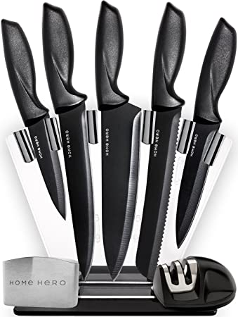 homehero 5piece stainless steel sharpener and block kitchen knife set with finger guard - Stainless