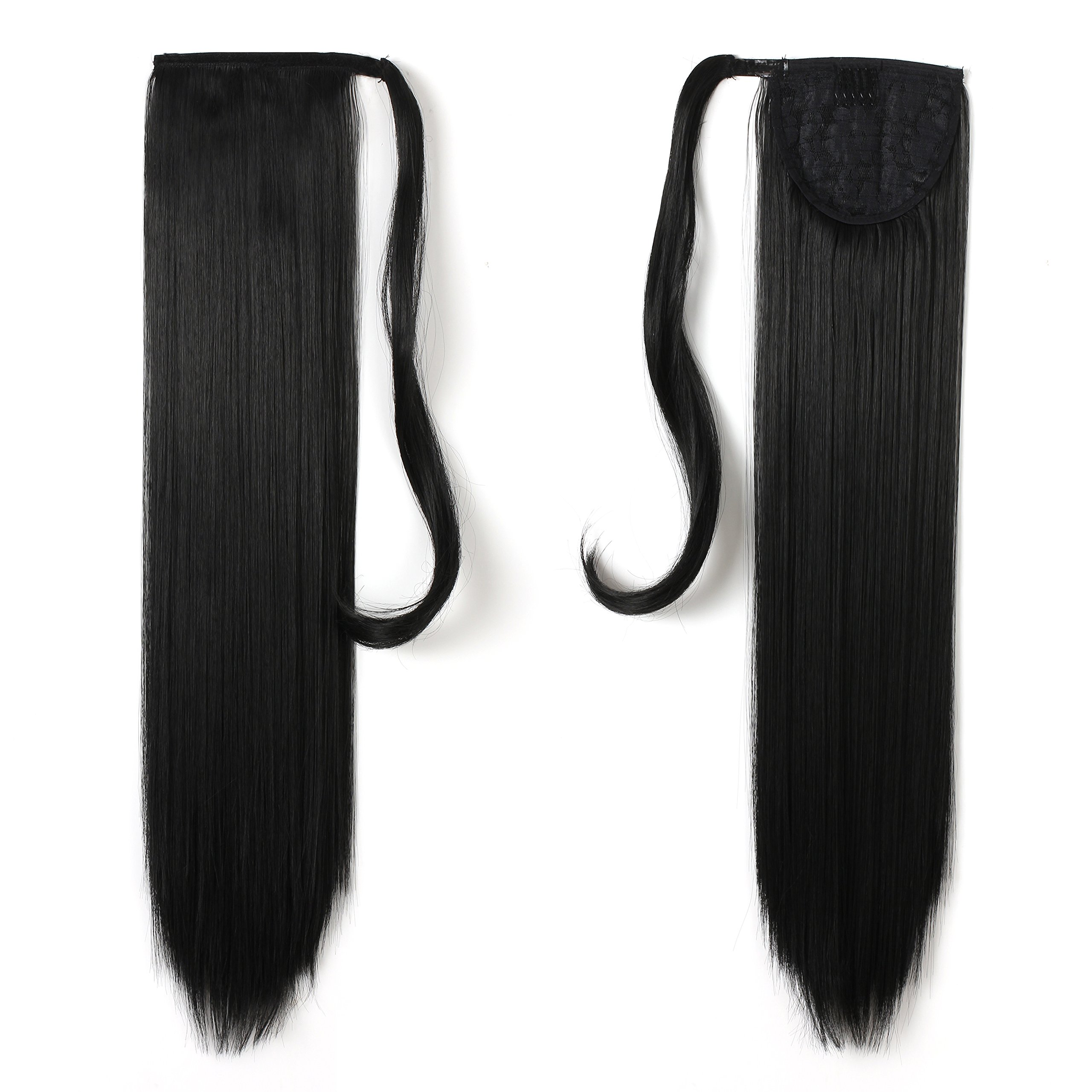 Onedor 24'' Straight Wrap Around Ponytail Extension for Women. Premium Synthetic Fiber 120g-130g (1B# Off Black)