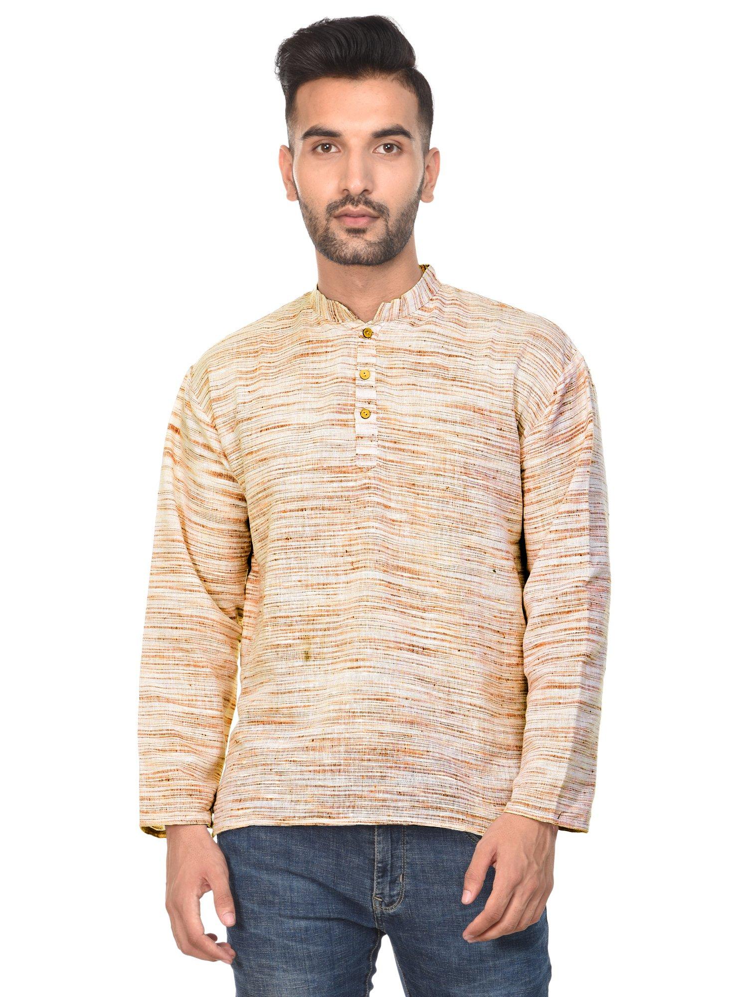 SKAVIJ Mens T- Shirt Kurta Long Sleeve Casual Button Down Cotton Tunic Kurta Dress