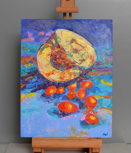 Funny Kitchen Wall Art Still Life Food Painting Decor Pumpkin Painting  Fruit Paintings Original Small Artwork