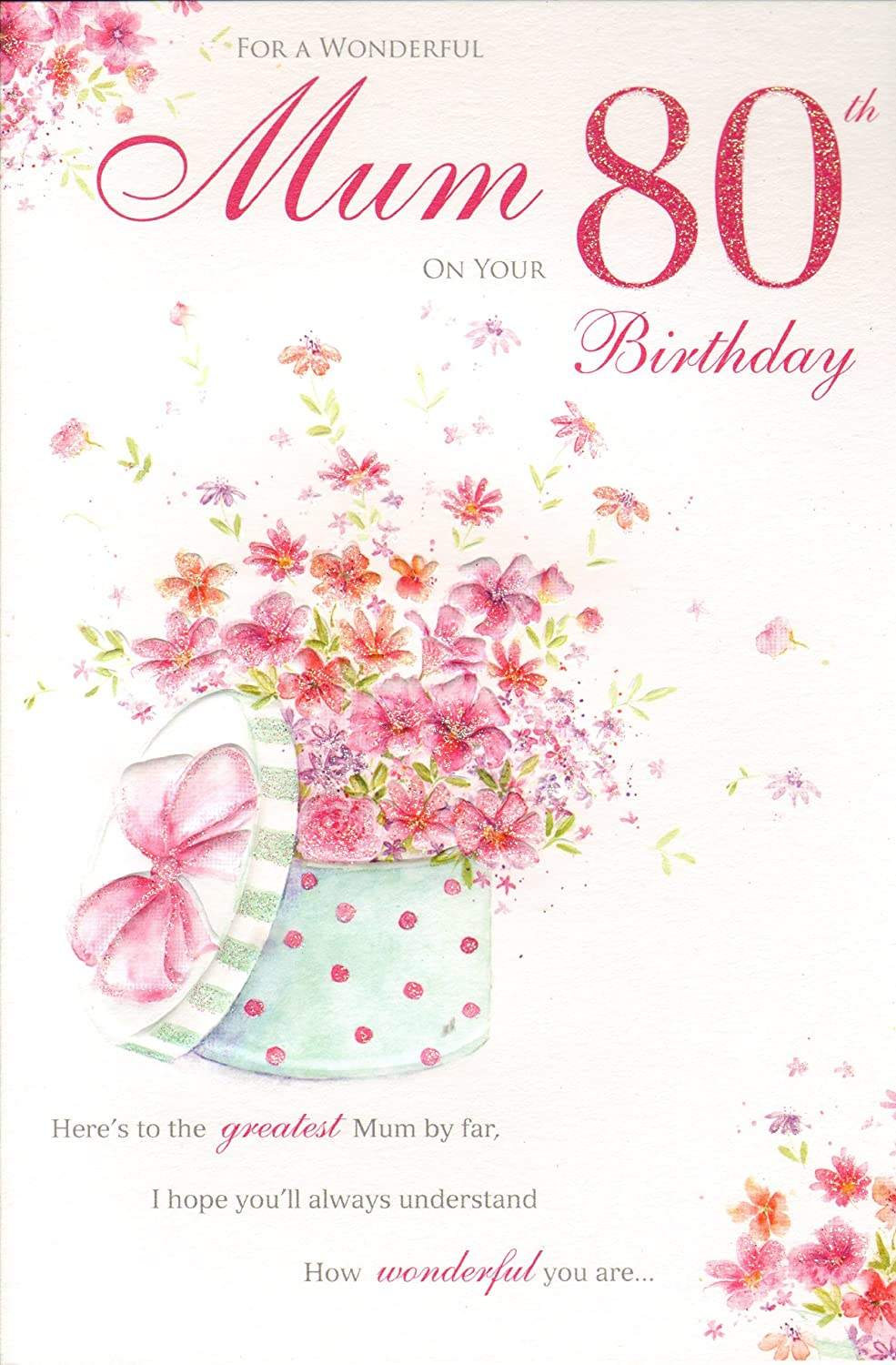 Mum 80th birthday birthday card amazon kitchen home m4hsunfo