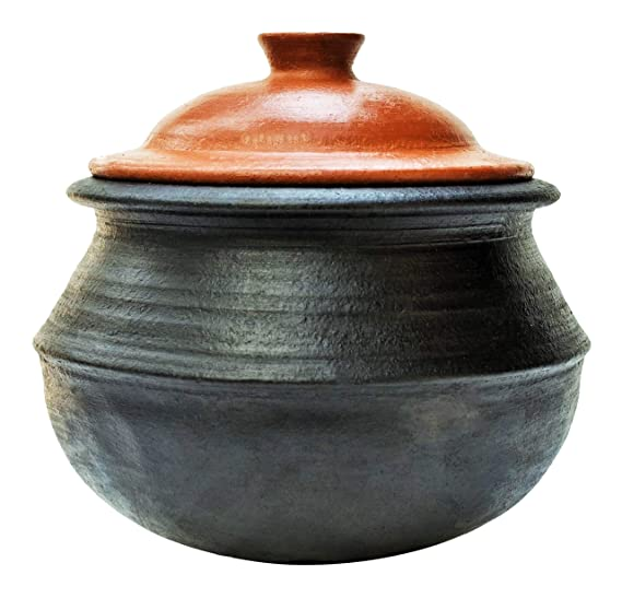 Craftsman India Clay Handi/Earthen pots for Cooking (3Ltr_Black_LPG & Microwave_Unglazed)