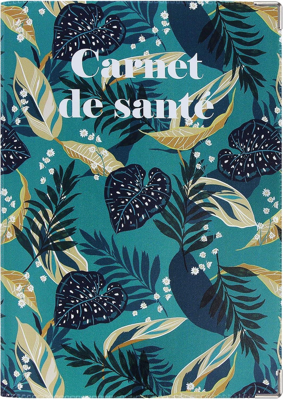 Fabrication fran/çaise Carnet de sant/é Blanc imprim/é fleurs bleus