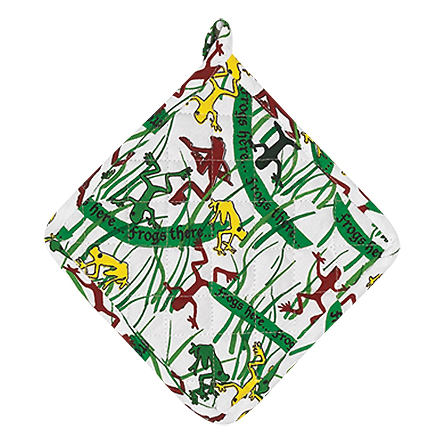 The Kosher Cook Passover Pot Holder Oven Mitt - Frog Print Design - 100% Cotton - Pesach Seder and Kitchen Accessories