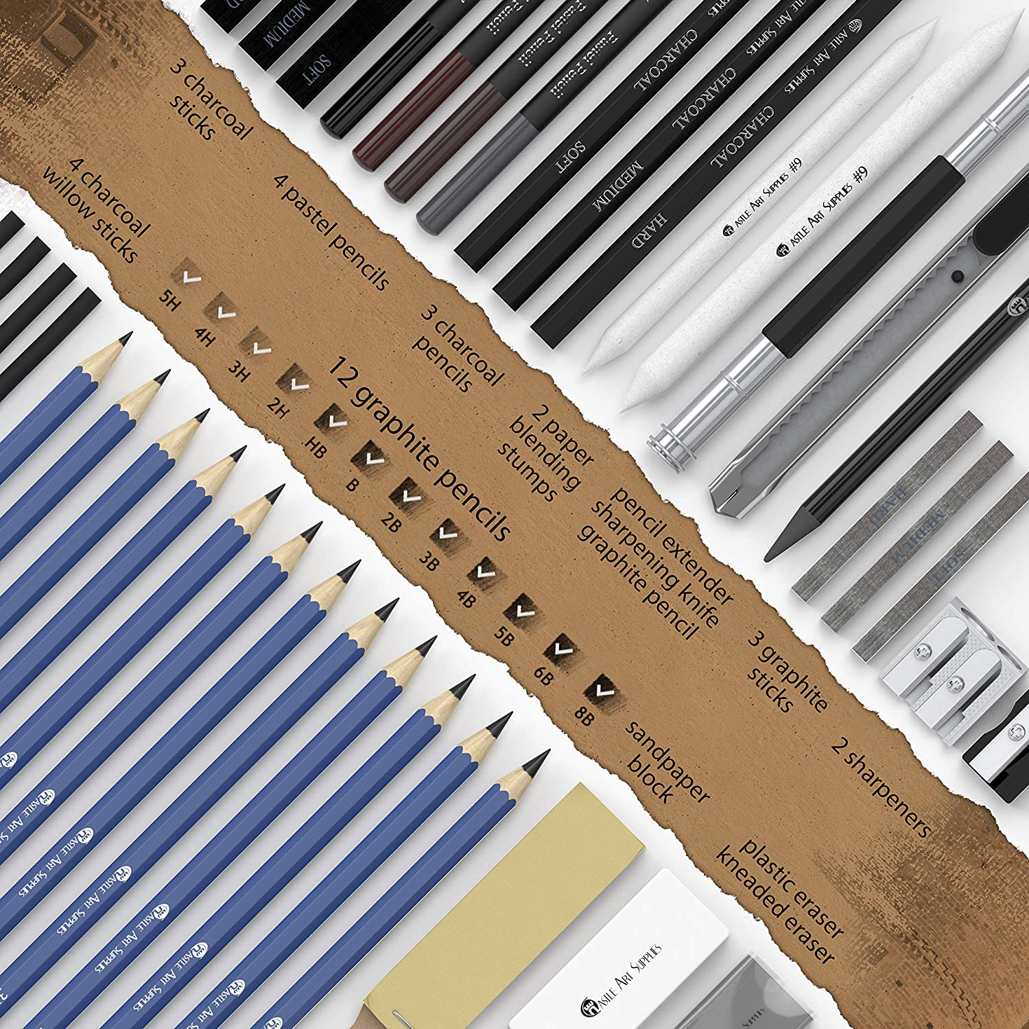Castle art supplies 40 piece sketching pencils and drawing set neatly presented in sturdy zipper case with pop up feature quality range of sketch pencils