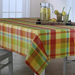 Celebrate Pastel Plaid Woven Fabric Tablecloth 60