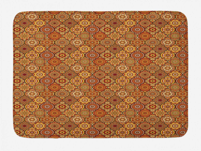 "Ambesonne Moroccan Bath Mat, Vintage Hand Drawn Style Ottoman Trellis Floral Motifs, Plush Bathroom Decor Mat with Non Slip Backing, 29.5"" X 17.5"", Orange Yellow"
