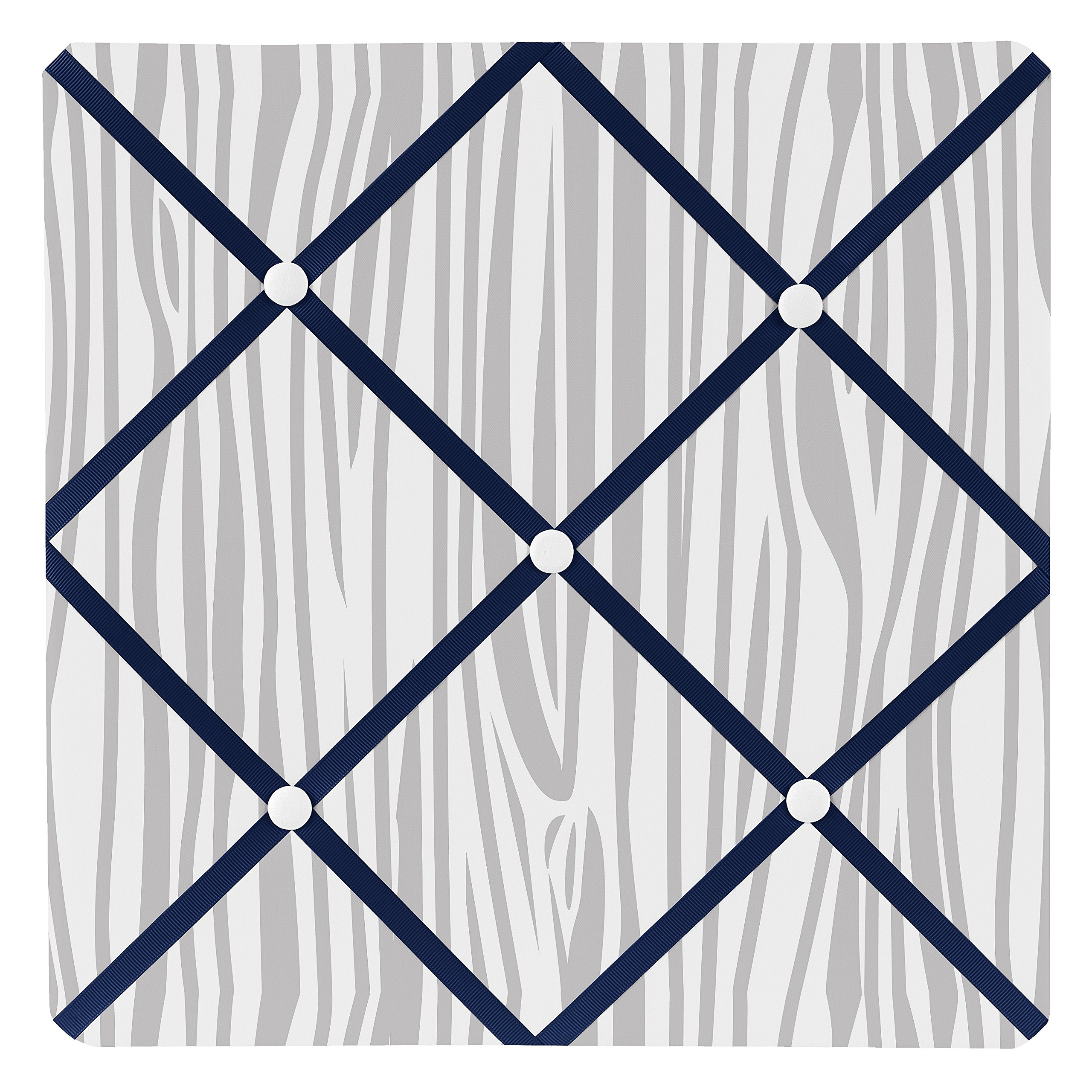 Sweet Jojo Designs Fabric Memory/Memo Photo Bulletin Board for Navy Blue, Mint and Grey Woodsy Boys Collection