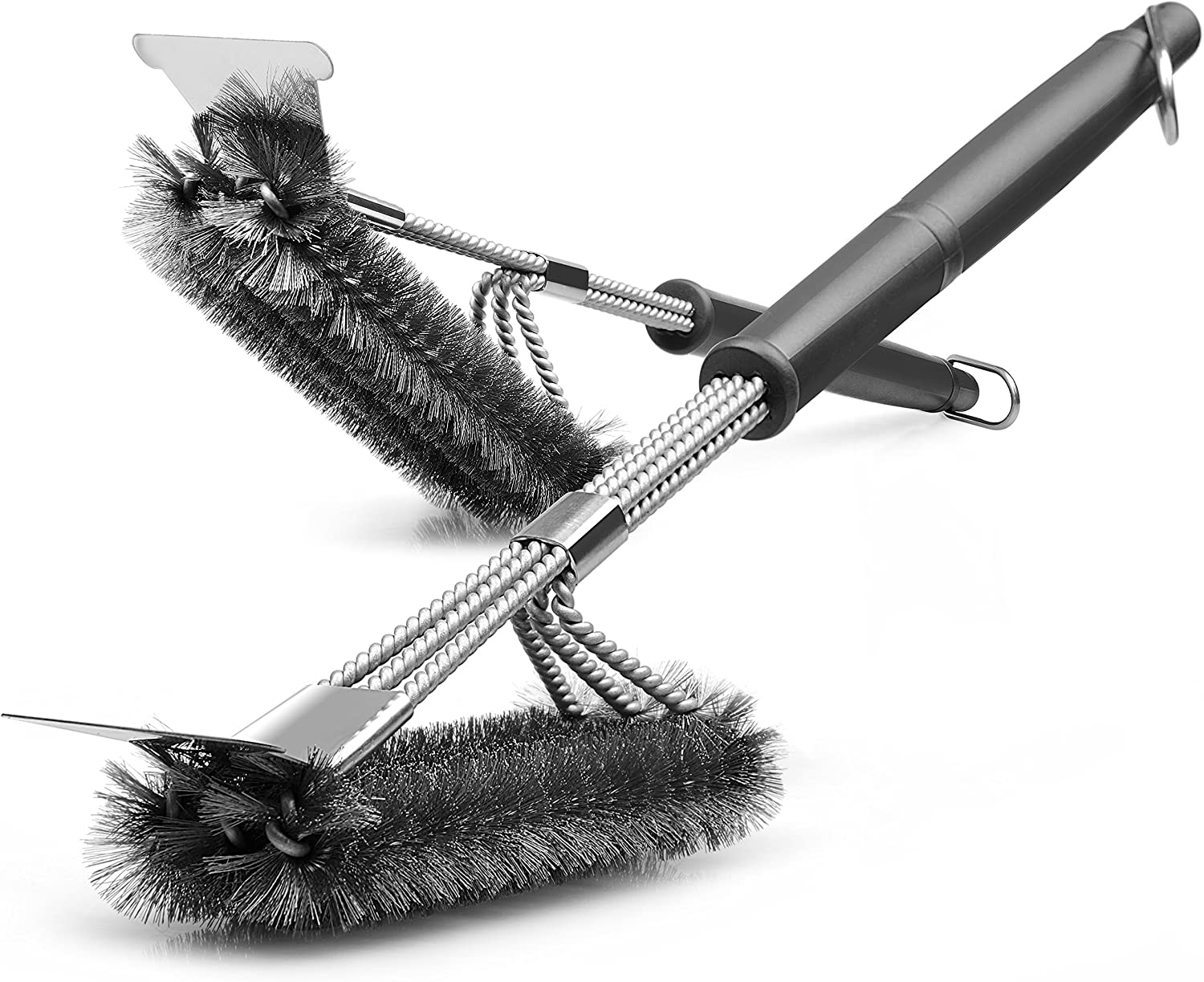 """Gama Grill Brush and Scraper - Bristle Free - 2 Packs, Barbecue Cleaning, 17"""" Stainless Steel Woven Wire 3 in 1, Durable BBQ Grill Cleaner Brush Tool Perfect for Grill, Cooking, Grates Burners : Garden & Outdoor"""