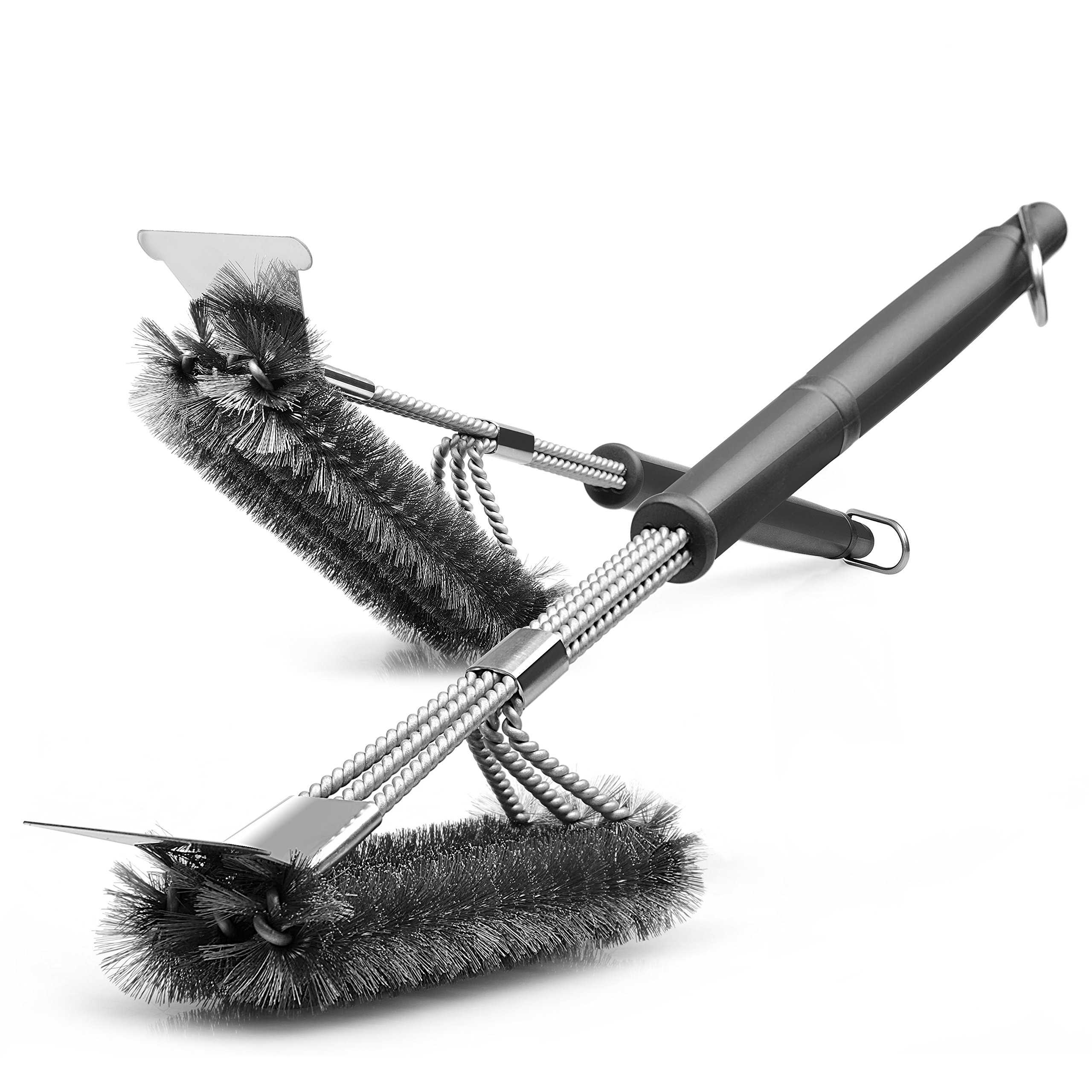 Gama Grill Brush, Pack of 2, Safe Clean Grill Brush Bristle Free Barbecue Cleaning Brush and Scraper 360 Stainless Steel BBQ Triple Head Scrubber Brush for Porcelain,Ceramic,Steel Iron by Gama
