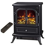 """Galleon Fires - """"Agena"""" Electric Stove with Remote Control - Realistic Flame Effect Stove - Portable - Electric Stove - Heater Electric Fire Place / Fireplace - With Real Log Flame Effect - (Black)"""