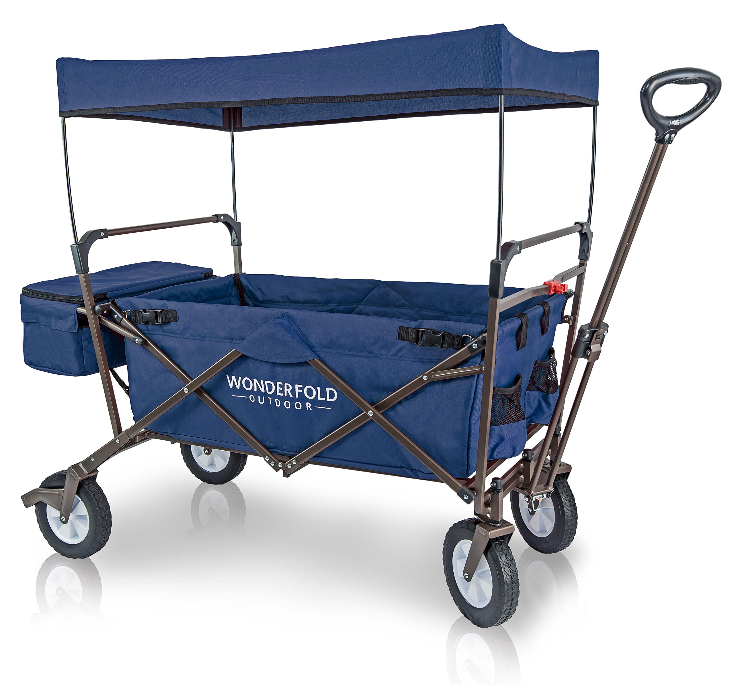 WonderFold Outdoor 2017 All New Collapsible Canopy Folding Wagon Utility Cart with 180° Steering Telescoping Handle with Spring Bounce, Auto Safety Locks, Rubber Tire, and Stand, Midnight Blue