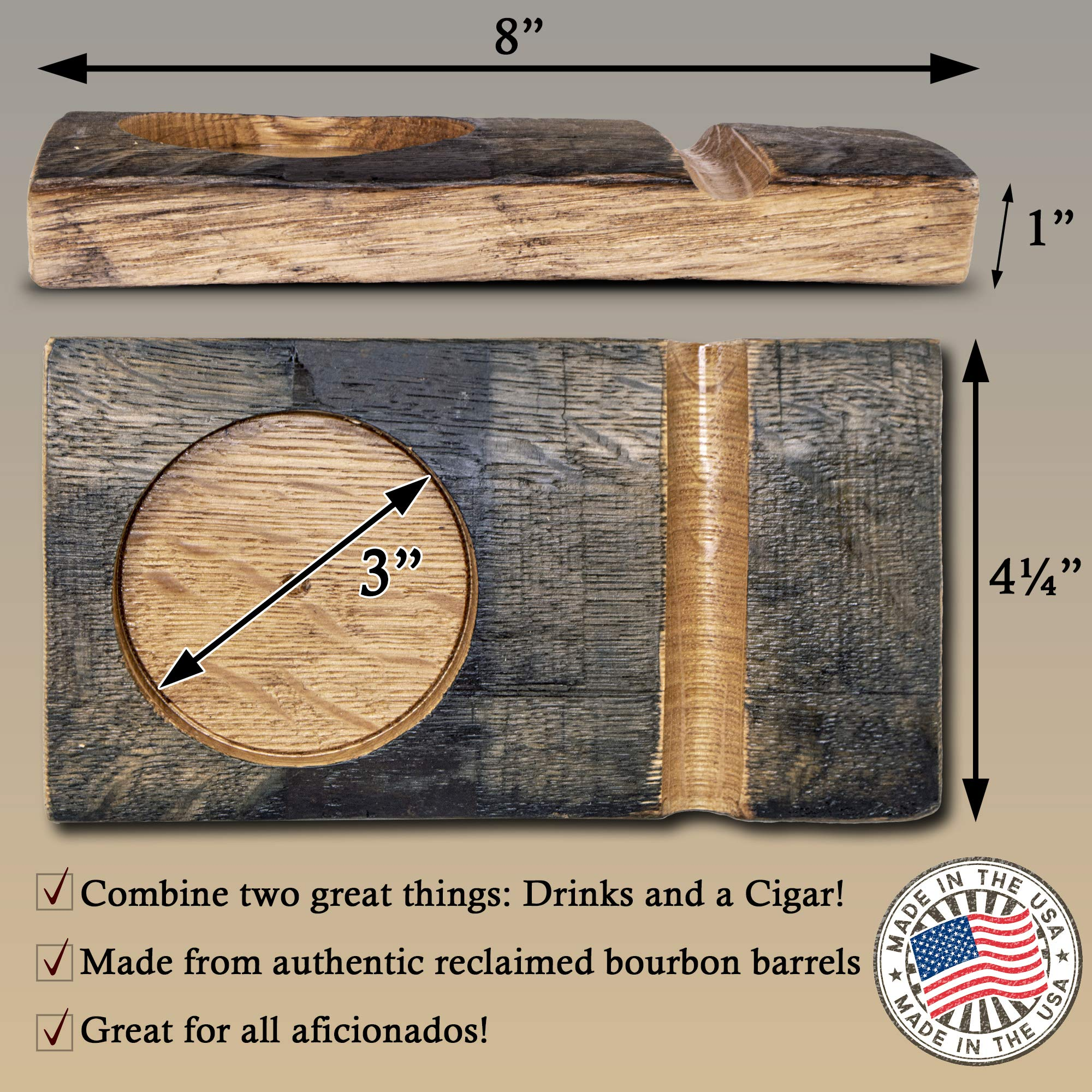 Handcrafted Rustic Wooden Whiskey Glass and Cigar Holder Tray Gift Set with Carved Wood Board and Highball Glass by BRIAR AND OAK WWW.BRIARANDOAK.COM (Image #2)