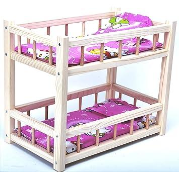 Amazon.es: Direct Global Litera de Madera para muñecas con colchones y Almohadas / Juguetes de Madera / muñecas Cuna 36 cm: Juguetes y juegos