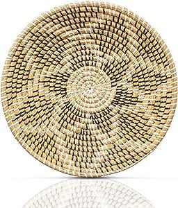 HNC Ecolife Woven Basket Wall Decor - Rattan Wall Decor - Wicker Wall Art - Woven Fruit Basket - Seagrass Decorative Bowl - Hanging Wall Basket Decor Boho (35cm/13.7in)