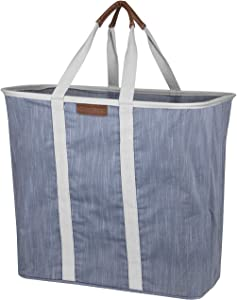 CleverMade Collapsible Laundry Tote Bag - Premium Pop-Up Utility Storage Basket with Handles - Extra Large Foldable Clothes Hamper with Sturdy Frame, Navy/Grey