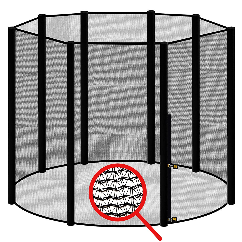Awm® Trampolin Sicherheitsnetz für 8 Stangen - System Fangnetz Netz außenliegend Trampolinnetz Ersatznetz schwarz
