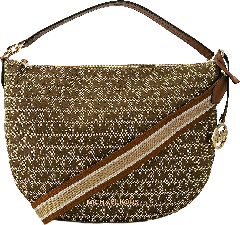 Michael Kors Bedford Medium Convertible Leather and Signature Shoulder Crossbody Bag