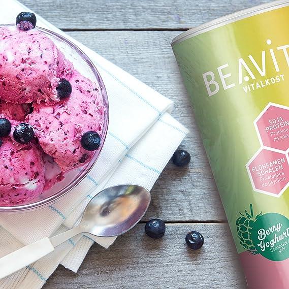 BEAVITA Vitalkost Plus - Paquete con todos los sabores - 5 x 572 g - Frambuesas, Cookies & Cream, Café, Mango Lassi & Vanilla Chai - Suplemento con proteína, vitaminas y minerales