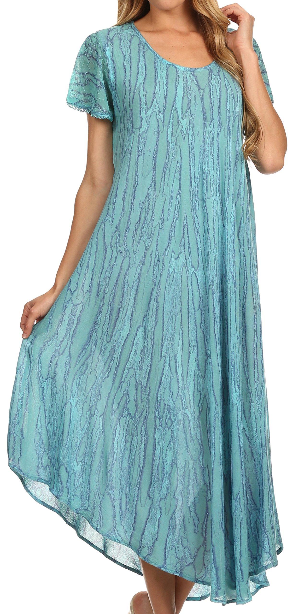 Sakkas 14802 - Faye Cap Sleeved Cotton Caftan Cover Up Dress - Turquoise - OS